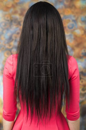 Photo for Female Long brunette hair, rear view, on studio wall background - Royalty Free Image