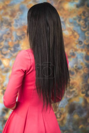 Female Long brunette hair, rear view