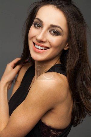 Beautiful girl face close up portrait studio