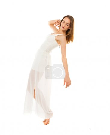 Portrait in full length, young slender woman in white dress