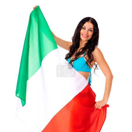Young woman holding a large flag of Italy