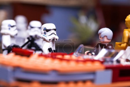 Photo for RUSSIA, April 12, 2018. Constructor Lego Star Wars. Episode IV, These aren't the droids you're looking for. Fragment from the Obi-Wan Kenobi - Royalty Free Image