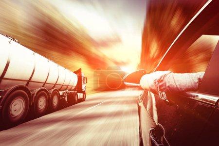 Big metal fuel tankers