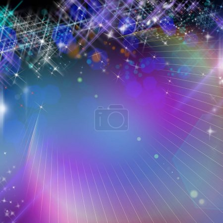 New year template with lot of bright stars and bokeh in blue and purple
