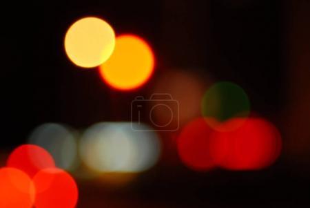 Defocused dark night city lights, bokeh