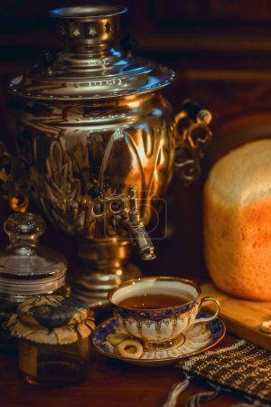 Russian traditional tea with samovar