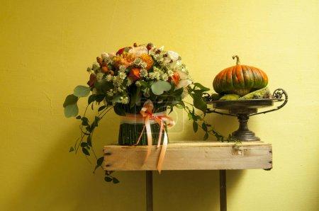 Still life with pumpkins. Halloween decoration.