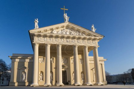 Front view of the cathedral in Vilnius, Lithuania