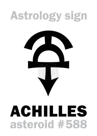 Astrology Alphabet: ACHILLES, asteroid #588. Hiero...