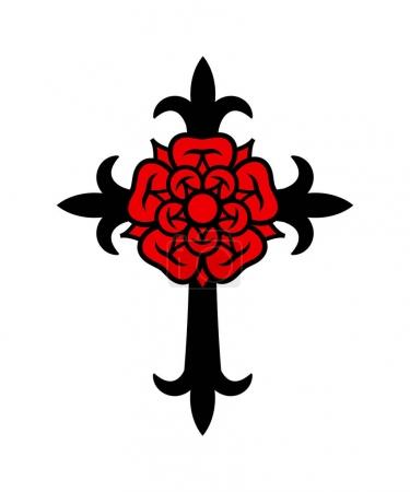 Illustration pour Rosenkreuz (Croix avec Rose). Symbole mystique sacré des Rosicruciens (Rosenkreuzer), emblème de la société secrète . - image libre de droit