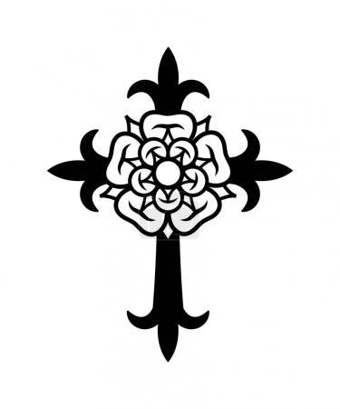 Illustration pour Rosenkreuz (Croix avec Rose). Symbole mystique sacré des Rosicruciens (Rosenkreuzer), emblème de la société secrète médiévale . - image libre de droit