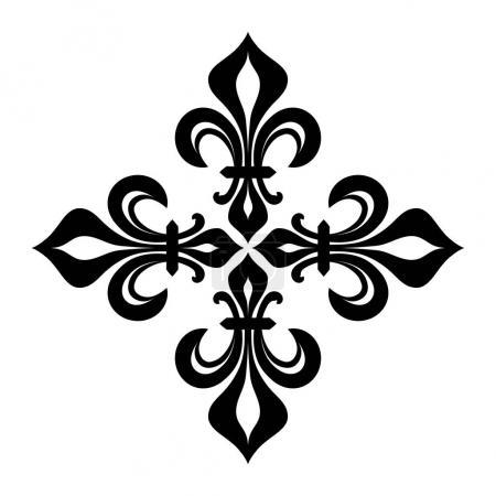 Illustration pour Croix Fleurdelisee (Croix des Lys), Croix héraldique royale . - image libre de droit