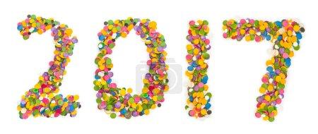 Photo pour 2017 confettis isolés sur fond blanc - image libre de droit