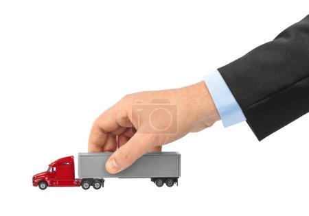 Toy car truck in hand