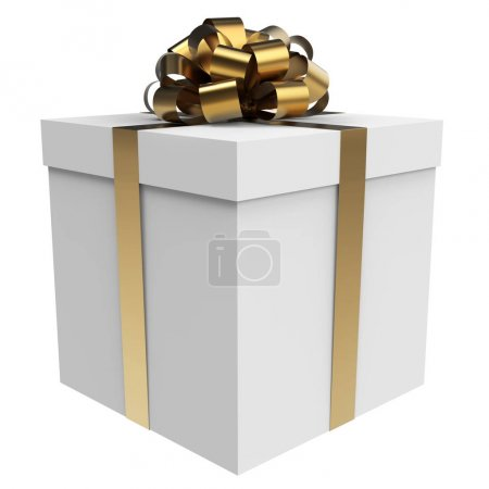 Photo for White gift box with gold bow and ribbon isolated on white background. 3D illustration. - Royalty Free Image