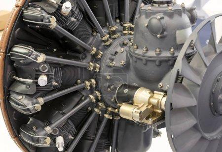 plane turbine engine mechanism closeup