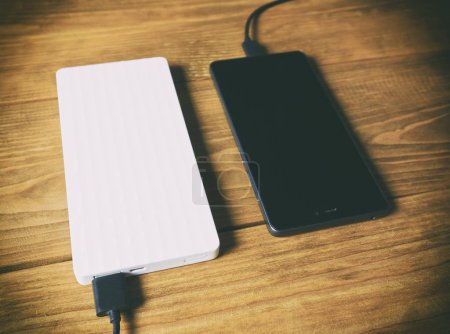 The power bank and smartphone