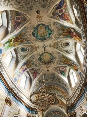Ternopil, Ukraine - November 04: Beautiful ceiling in the Ukrain