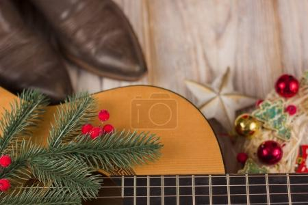 christmas music background with acoustic guitar
