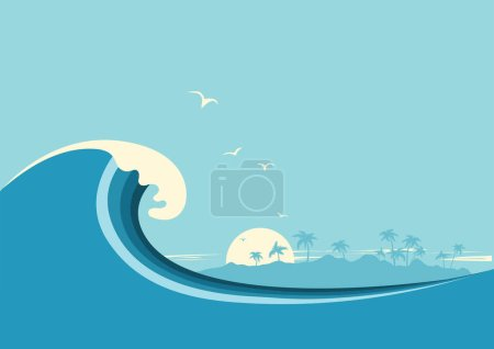 Illustration for Big ocean wave and tropical island.Vector blue background - Royalty Free Image