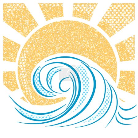 Illustration for Vintage sea waves and sun. Vector illustration of sea landscape for text - Royalty Free Image