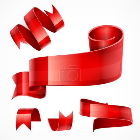 Red ribbons Set vector illustration