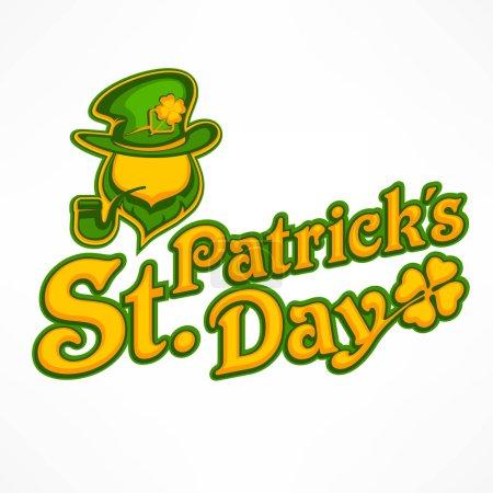 Illustration pour Logo irlandais lettrage leprechaun pour carte de vœux de la Saint-Patricks jour. Visage et texte d'inscription sur blanc. Illustration vectorielle - image libre de droit