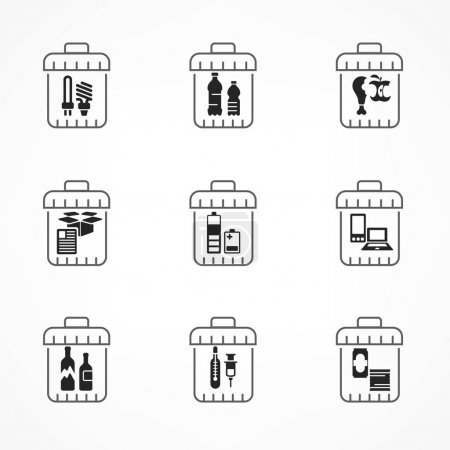 Garbage waste recycling icons, line trash of diffe...
