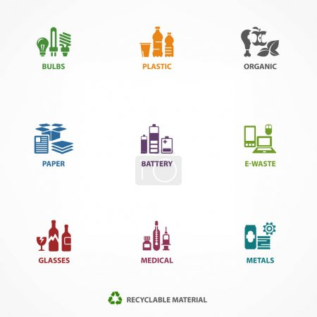 Garbage waste recycling icons, line symbols of dif...