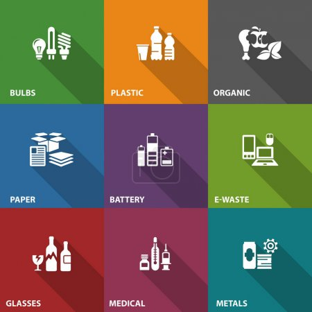 Garbage waste recycling icons on color, line symbo...