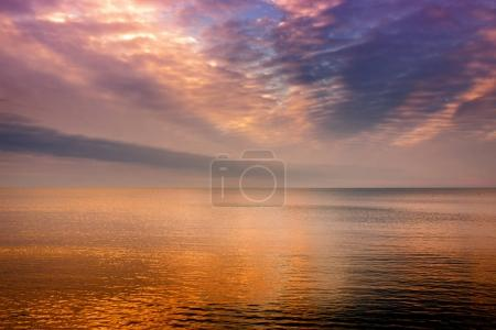 sunset over Baltic sea in winter