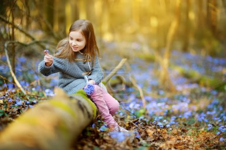 Photo for Adorable little girl picking first flowers of spring in forest on beautiful sunny spring day. Cute child having fun outdoors. - Royalty Free Image