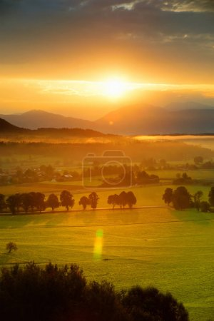 Breathtaking morning landscape of small bavarian village