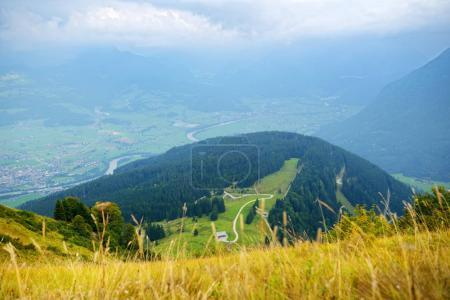 Photo for Breathtaking landscape of mountains, forest and Bavarian village, aerial view - Royalty Free Image