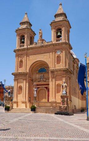 The view of the parish church in the Marsaxlokk fishing village,