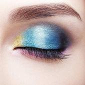 Closeup macro shot of closed human female eye. Girl with perfect