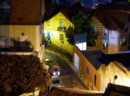 Night view of the residential quarters of Lisbon.