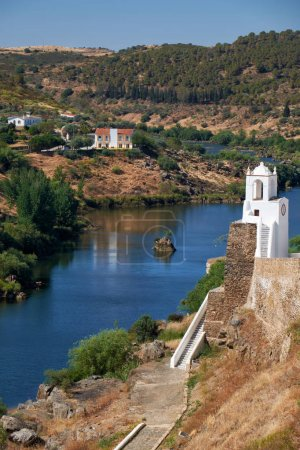 Clock tower (Torre do Relogio) on the right bank of Guadiana. Me
