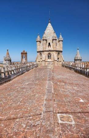 Lantern tower over the roof of Cathedral of Evora, Basilica Se C