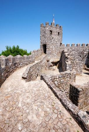 The curtain walls and solid tower of the Castle of the Moors.  S