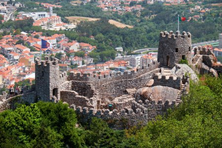 View of Castle of the Moors on the top of the mountain over the