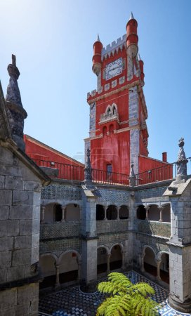 Clock tower and the cloisters of monastery in the Pena Palace. S
