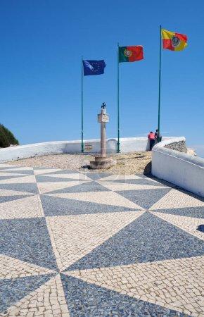 Flags of European Union, Portugal and Nazare at Miradouro do Sub