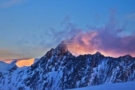 Sunrise in the winter mountain
