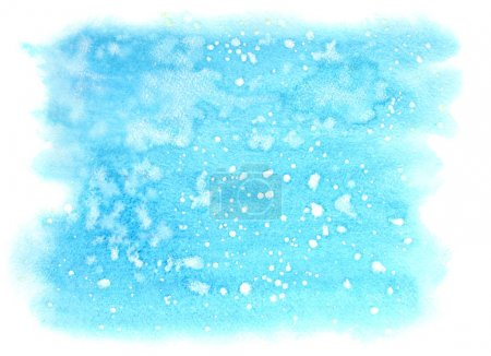 Photo for Light blue winter watercolor background with stains - Royalty Free Image