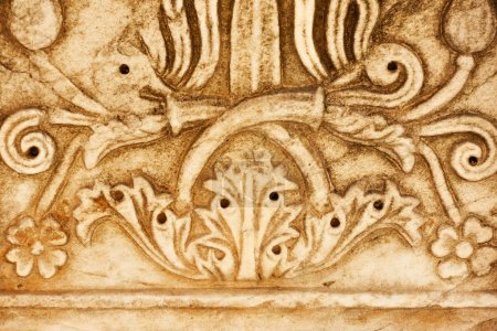 Photo for Detail of ancient greek column with floral pattern close-up - Royalty Free Image