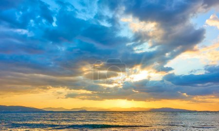 Photo for Scenic sunset over the sea  -- Panoramic sundown seascape - landscape - Royalty Free Image
