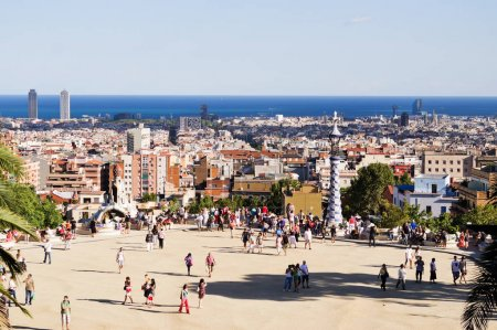 People visit Park Guell