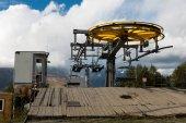 Top station of ropeway. Caucasus Mountains. Hatsvali, Svaneti region of Georgia