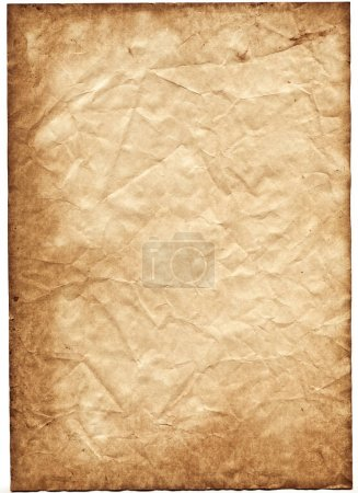 Old dented vintage sheet of paper on white background